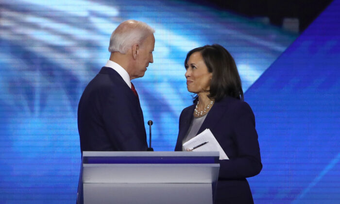 Former Vice President Joe Biden and Sen. Kamala Harris (D-Calif.) speak after a Democratic presidential candidate in Houston, Texas, on Sept. 12, 2019. (Win McNamee/Getty Images)