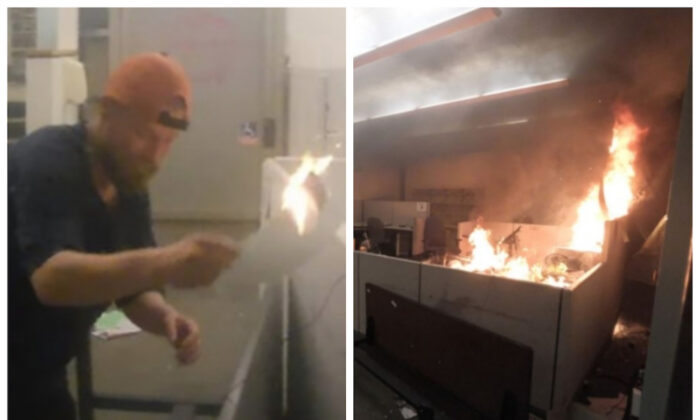 (L) A man identified as Edward Schinzing spreading the fire in the Corrections Records Office by moving flaming papers into separate cubicles on May 29, 2020. (R) A demonstrator photographs the fire in the Corrections Records Office on May 29, 2020. (via Department of Justice)