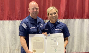 Female Coast Guard Receives Silver Lifesaving Medal for Saving 2 Drowning Men Off Long Island Coast