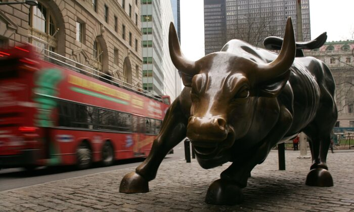 The Wall Street Bull sculpture in the Financial District in New York in a file photo. (Spencer Platt/Getty Images)