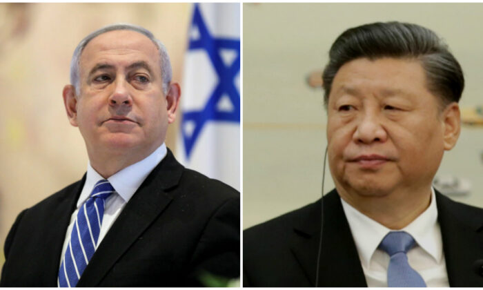 (L) Israeli Prime Minister Benjamin Netanyahu attends the first working cabinet meeting of the new government at the Chagall Hall in the Knesset, the Israeli Parliament in Jerusalem, on May 24, 2020. (Abir Sultan/Pool via Reuters), (R) Chinese Communist Party head Xi Jinping attends a meeting with delegates from the 2019 New Economy Forum at the Great Hall of the People in Beijing, China on Nov. 22, 2019. (Jason Lee-Pool/Getty Images)