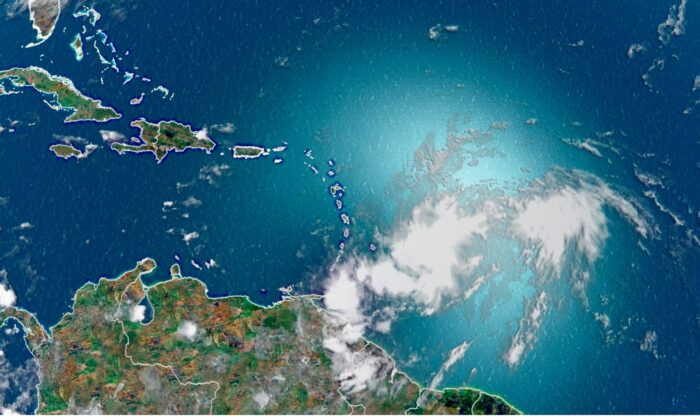 Tropical Storm Isaias is seen from space above the Atlantic Ocean on July 28, 2020. (CNN Weather)