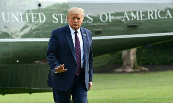 President Donald Trump returns to the White House in Washington, DC, on July 27, 2020 (Nicholas Kamm/AFP via Getty Images)