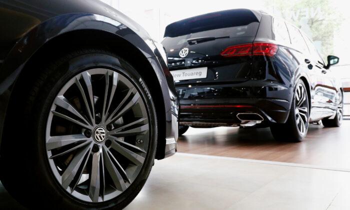 A Volkswagen Touareg is seen in a showroom of a Volkswagen car dealer in Brussels on July 9, 2020. (Francois Lenoir/Reuters)