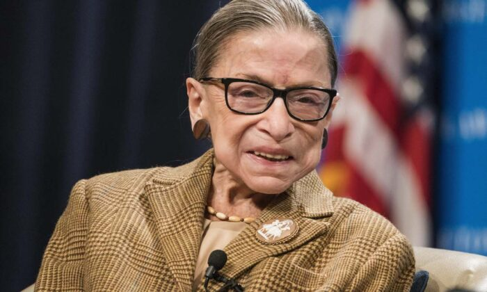 U.S. Supreme Court Justice Ruth Bader Ginsburg at a discussion at the Georgetown University Law Center in Washington, on Feb. 10, 2020. (Sarah Silbiger/Getty Images)
