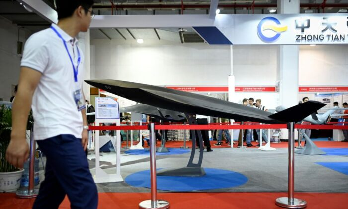 A model of an FL-71 drone is seen on display at the Chinese Defense Information Equipment and Technology exhibition in Beijing on June 18, 2019. (Wang Zhao/AFP via Getty Images)