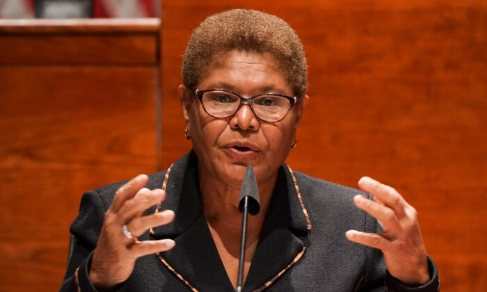 Rep. Karen Bass (D-Calif.) gives an opening statement during a markup on H.R. 7120, the Justice in Policing Act of 2020, on Capitol Hill in Washington on June 17, 2020. (Greg Nash/Pool/AFP via Getty Images)