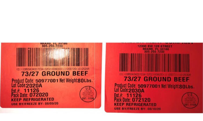Recall product label from the ground beef from JBS Food Canada ULC. (U.S. Department of Agriculture Food Safety and Inspection Service)