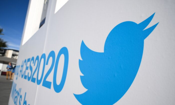 Twitter branding is displayed ahead of the 2020 Consumer Electronics Show (CES) at the Las Vegas Convention Center in Las Vegas, Nev., on January 5, 2020. (Robyn Beck/AFP via Getty Images)