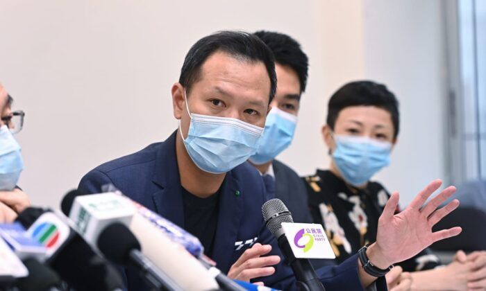 Hong Kong lawmaker Dennis Kwok of the local Civic Party speaks at a press conference after being disqualified for the upcoming legislative elections on July 30, 2020. (Song Bilung/The Epoch Times)