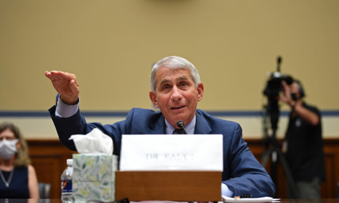 Dr. Anthony Fauci, director of the National Institute for Allergy and Infectious Diseases, testifiesduring a House Subcommittee on the Coronavirus Crisis hearing on Capitol Hill in Washington on July 31, 2020. (Kevin Kietsch/Pool/AFP via Getty Images)