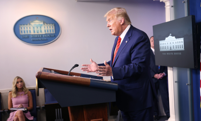 President Donald Trump speaks to the media during a news conference in the briefing room at the White House in Washington on Aug. 31, 2020. (Win McNamee/Getty Images)