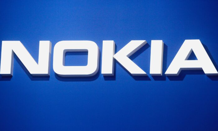 The Nokia logo is displayed at the Mobile World Congress (MWC) in Barcelona on Feb. 26, 2019. (Josep Lago/AFP via Getty Images)