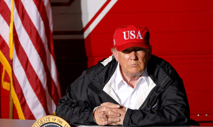 President Donald Trump speaks during a briefing at Lake Charles Fire House as he visits nearby areas damaged by Hurricane Laura in Lake Charles, La., on Aug. 29, 2020. (Tom Brenner/Reuters)