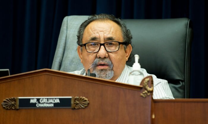 House Natural Resources Chairman Raul Grijalva (D-Ariz.) makes a closing statement during a hearing in Washington on June 29, 2020. (Bonnie Cash/Pool/AFP via Getty Images)