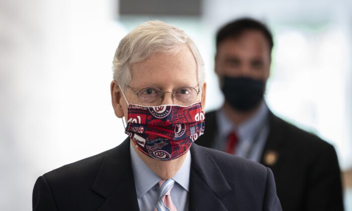Senate Majority Leader Mitch McConnell (R-Ky.) arrives at the Senate Republican policy luncheon in the Hart Senate Office Building on Capitol Hill in Washington on July 28, 2020. (Drew Angerer/Getty Images)