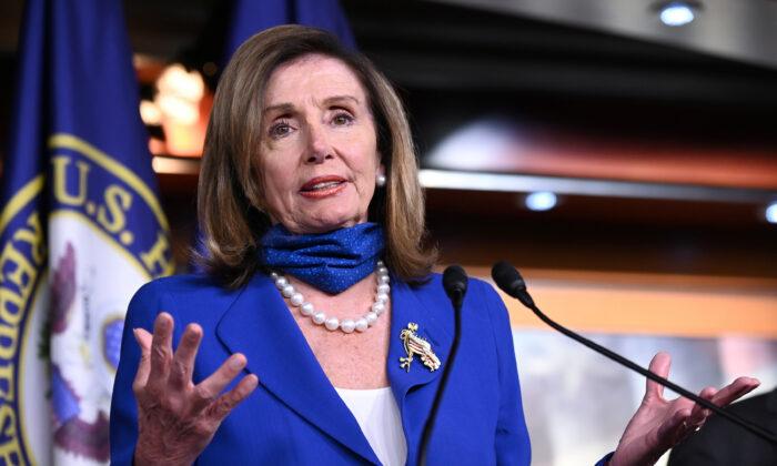 House Speaker Nancy Pelosi speaks at a press conference in Washington on July 29, 2020. (Erin Scott/Reuters)
