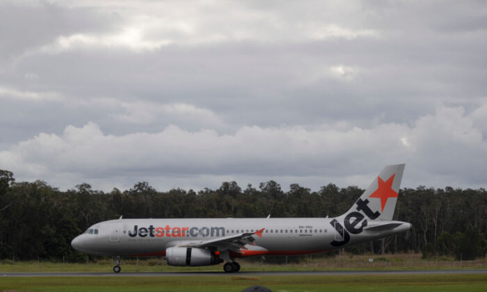 Jetstar flight at the Ballina-Byron Gateway Airport in Byron Bay, Australia on June 20, 2020. (Brook Mitchell/Getty Images)