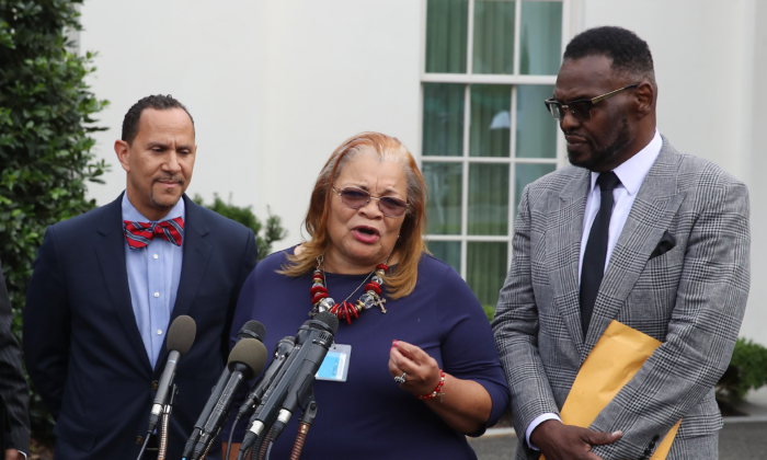 Alveda King niece of Dr. Martin Luther King Jr., speaks to the media following a meeting with U.S. President Donald Trump and other faith-based inner-city leaders at the White House on July 29, 2019 in Washington. (Mark Wilson/Getty Images)
