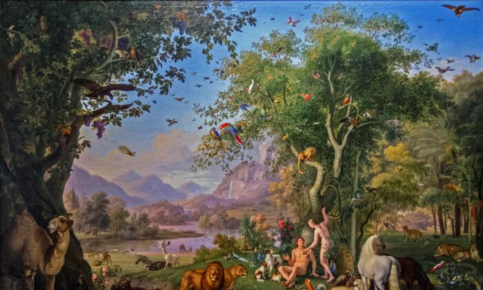 """Adam and Eve in the Garden of Eden, between 1800 and 1829, by Peter Wenzel. Vatican Pinacoteca. (Public Domain)"