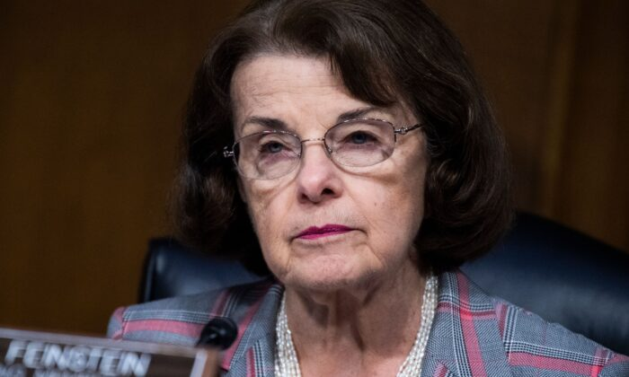 Sen. Dianne Feinstein (D-Calif.) attends a Senate Judiciary Committee hearing on Capitol Hill in Washington on June 16, 2020. (Tom Williams/Pool/AFP via Getty Images)