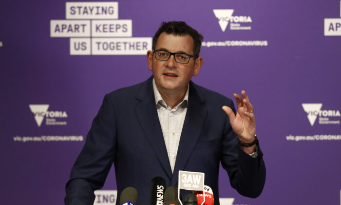 Victoria Premier Daniel Andrews speaks to the media at the daily briefing in Melbourne, Australia on Aug. 3, 2020. (Darrian Traynor/Getty Images)