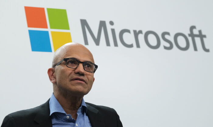 Satya Nadella, CEO of Microsoft, speaks in Berlin, Germany, on Feb. 27, 2019. (Sean Gallup/Getty Images)