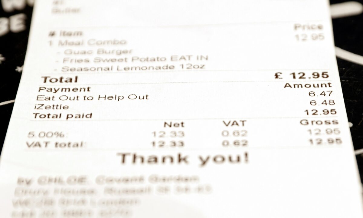 UK eat out to help out receipt