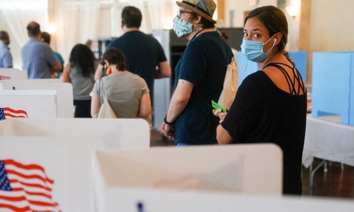 People wait in line to vote in Georgia's Primary Election on June 9, 2020 in Atlanta, Ga. (Elijah Nouvelage/Getty Images)