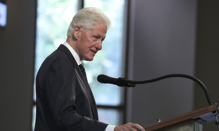 Former President Bill Clinton speaks during the funeral service for the late Rep. John Lewis (D-Ga.) in Atlanta, Ga., on July 30, 2020. (Alyssa Pointer/Pool/Getty Images)