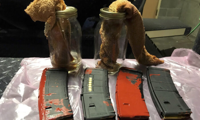 Loaded rifle magazines and Molotov cocktails found at a park in Portland, Ore., on July 26, 2020. (Portland Police Department via AP)