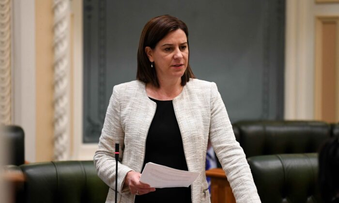 Queensland Leader of the Opposition Deb Frecklington speaks during Question Time at Parliament House in Brisbane, Australia, on July 15, 2020. (AAP Image/Dan Peled)
