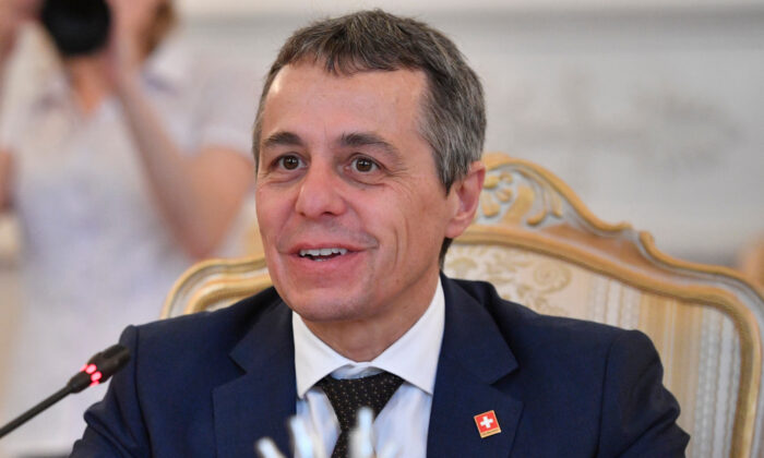 In this file photo, Swiss Foreign Minister Ignazio Cassis attends a meeting with his Russian counterpart in Moscow on June 19, 2019. (Alexander Nemenov/AFP via Getty Images)