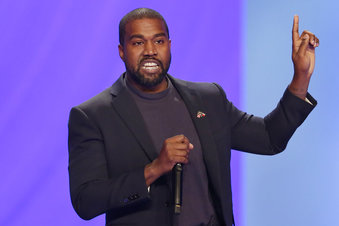 Kanye West answers questions during a service at Lakewood Church in Houston, Texas, on Nov. 17, 2019. (Michael Wyke/AP Photo)