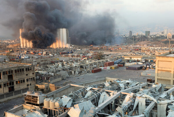 Smoke rises from the site of an explosion in Beirut