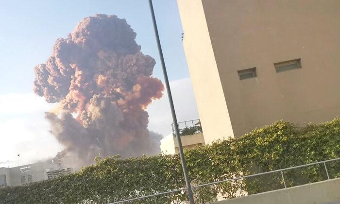 Smoke rises after an explosion in Beirut, Lebanon, on Aug. 4, 2020. (Karim Sokhn/Instagram/Ksokhn + Thebikekitchenbeirut/via Reuters)