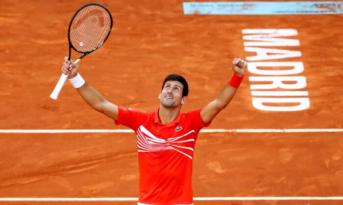 Serbia's Novak Djokovic celebrates winning the final against Greece's Stefanos Tsitsipas, in Madrid, Spain, on May 12, 2019. (Javier Barbancho/Reuters)