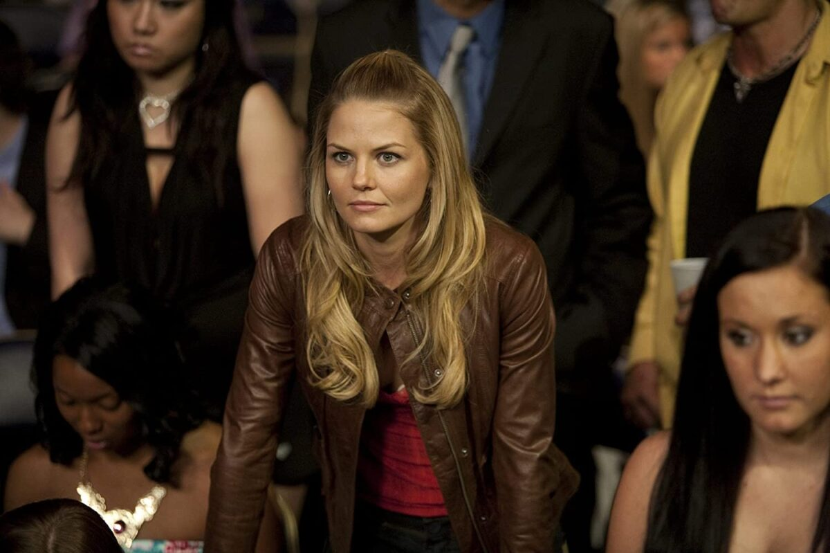 """blond woman in brown leather jacket in """"Warrior"""""""