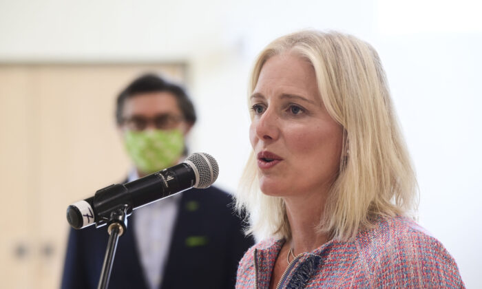 Minister of Infrastructure and Communities Catherine McKenna speaks regarding support for Canadian communities as they adjust their public infrastructure priorities to the realities of the COVID-19 pandemic during an event at the Tomlinson Family Foundation Clubhouse in Ottawa on  Aug. 5, 2020. (THE CANADIAN PRESS/Sean Kilpatrick)