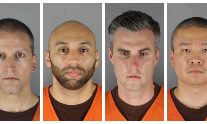 (L-R) Former Minneapolis Police Department officers Derek Chauvin, J. Alexander Kueng, Thomas Lane, and Tou Thao, in booking photos. (Hennepin County Sheriff's Office via AP)