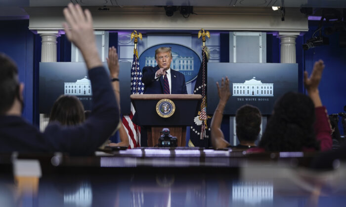 President Donald Trump speaks during a news conference in the James Brady Press BriefingRoom of the White House on August 4, 2020 in Washington.(Drew Angerer/Getty Images)