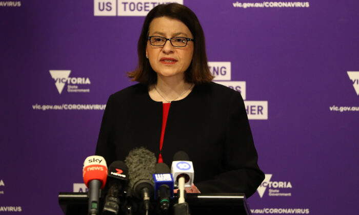 Minister for Health Jenny Mikakos speaks to the media in Melbourne, Australia on July 23, 2020. (Robert Cianflone/Getty Images)