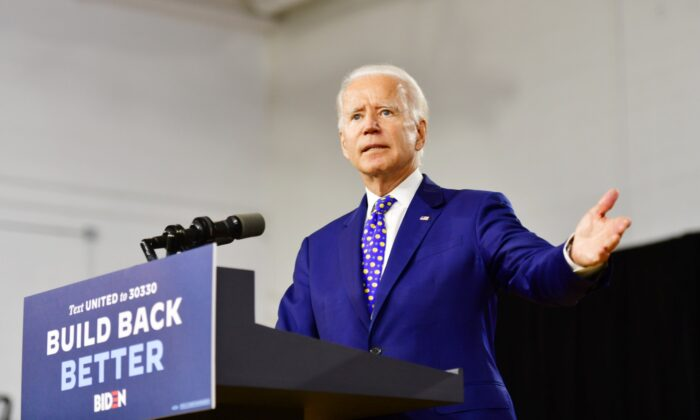 Presumptive Democratic presidential nominee former Vice President Joe Biden delivers a speech at the William Hicks Anderson Community Center, in Wilmington, Del., on July 28, 2020. (Mark Makela/Getty Images)