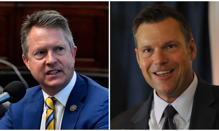 (L) Congressman Roger Marshall (R-Kan.) appears on Urban View's Helping Our Heroes Special on Capitol Hill in Washington on May 16, 2018. (Larry French/Getty Images for SiriusXM). (R) Kris Kobach speaks to supporters in Topeka, Kan., on Aug. 7, 2018 (Steve Pope/Getty Images)