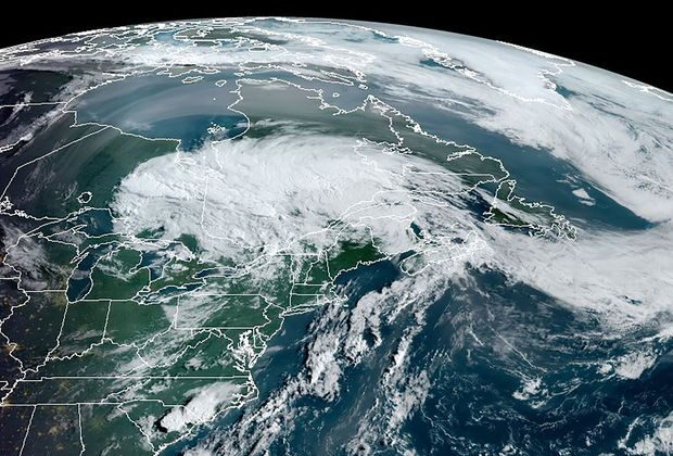 Tropical storm Isaias swirls over the U.S. Northeast and Quebec on Aug. 5, 2020.