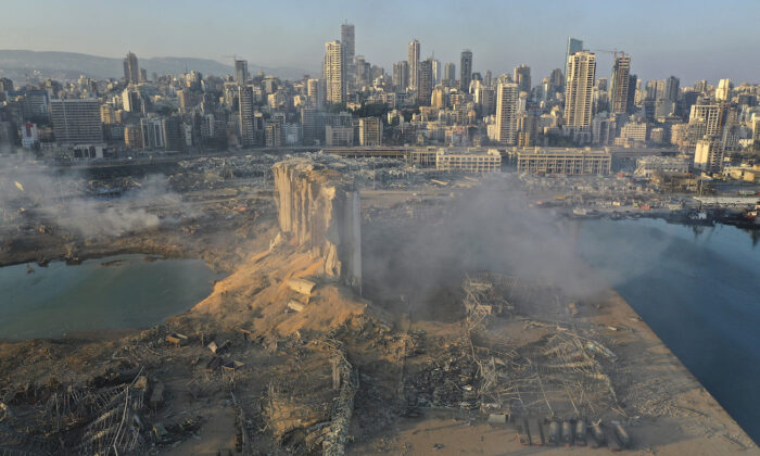 A drone picture shows the scene of an explosion at the seaport of Beirut, Lebanon, on Aug. 5, 2020. (Hussein Malla/AP Photo)