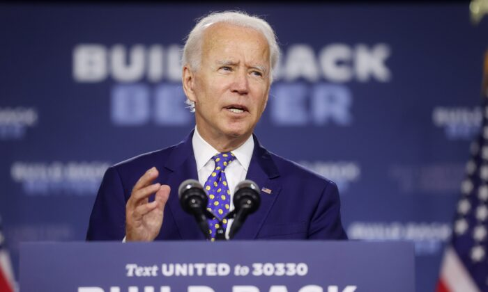 Democratic presidential candidate and former Vice President Joe Biden speaks about his plans to combat racial inequality at a campaign event in Wilmington, Del., July 28, 2020. (Jonathan Ernst/Reuters)