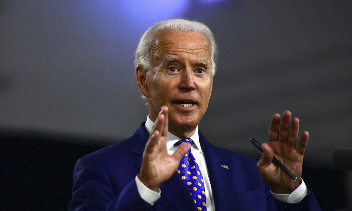 Presumptive Democratic presidential nominee former Vice President Joe Biden delivers a speech in Wilmington, Del., on July 28, 2020. (Mark Makela/Getty Images)