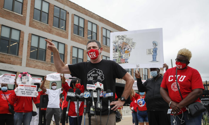 Chicago Teachers Union President Jesse Sharkey speaks prior to a protest over the city's school reopening plan in Chicago, Ill., on Aug. 3, 2020. (Kamil Krzaczynski/AFP via Getty Images)