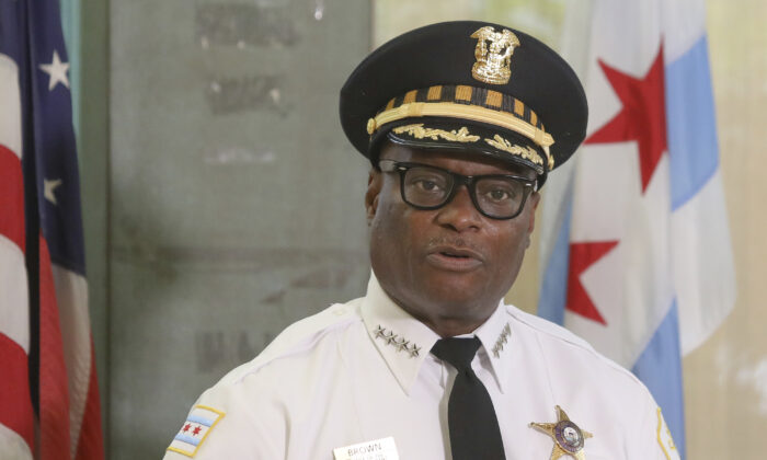 Chicago Police Superintendent David Brown speaks at a news conference in Chicago on July 27, 2020. (Teresa Crawford/AP Photo)